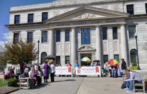 Photo of Knights of Columbus Council #15085 members participating in the Pray the Rosary Event held outside the Haywood County Court House in Waynesville, NC.